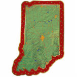 "Indiana Map Christmas Ornament Cut Out<br><div class=""desc"">This acrylic ornament shaped from a relief map of Indiana surrounded by festive trim will add novel Indiana flair to your seasonal decorations. Also available as a pin,  magnet or keychain. 