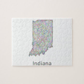 Indiana map jigsaw puzzle