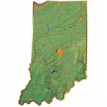 """Indiana Map Magnet Cut Out<br><div class=""""desc"""">This magnet,  shaped like the state of Indiana,  displays a relief map of the state surrounded by a gold effect border. Indiana decor for your fridge.  Map derived from images at nationalatlas.gov.</div>"""