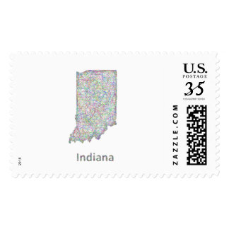 Indiana map postage stamp
