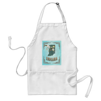 Indiana Map With Lovely Birds Adult Apron