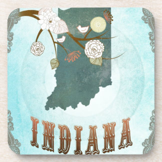Indiana Map With Lovely Birds Beverage Coaster