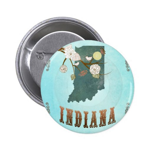 Indiana Map With Lovely Birds Pins