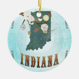 Indiana Map With Lovely Birds Ceramic Ornament