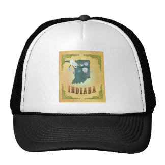 Indiana Map With Lovely Birds Trucker Hat