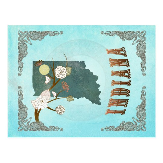 Indiana Map With Lovely Birds Postcard