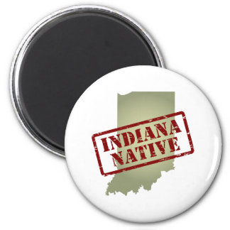 Indiana Native Stamped on Map 2 Inch Round Magnet