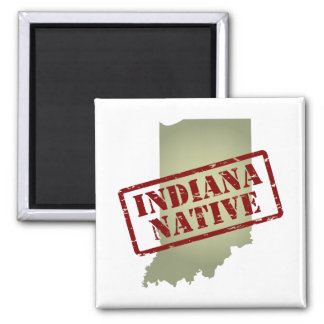 Indiana Native Stamped on Map 2 Inch Square Magnet