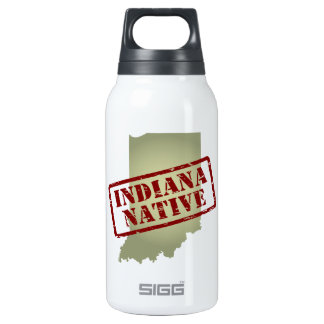 Indiana Native Stamped on Map Insulated Water Bottle
