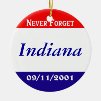 Indiana Double-Sided Ceramic Round Christmas Ornament