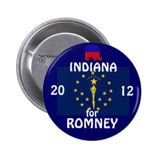 Indiana para Romney 2012 Pin Redondo De 2 Pulgadas