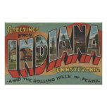 Indiana, Pennsylvania - Large Letter Scenes Poster