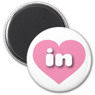 indiana pink heart - mini love 2 inch round magnet