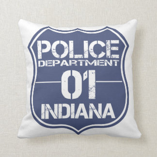 Indiana Police Department Shield 01 Pillow