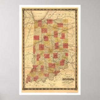 Indiana Railroad Train Map 1858 Poster