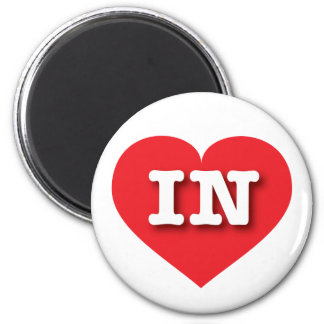 Indiana Red Heart - Big Love 2 Inch Round Magnet