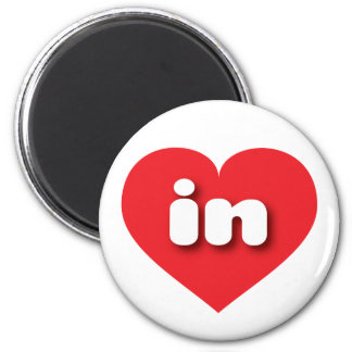indiana red heart - mini love 2 inch round magnet