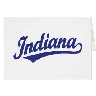 Indiana script logo in blue card
