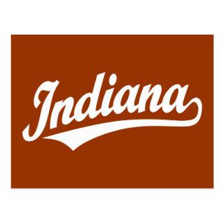 Indiana script logo in white postcard
