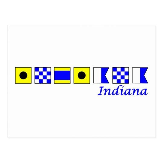Indiana spelled in nautical flag alphabet postcard