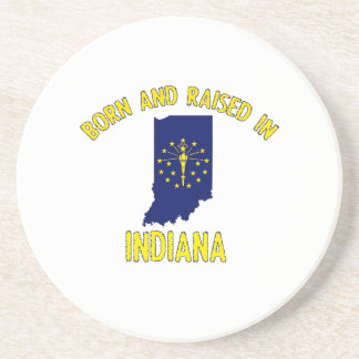 Indiana state flag and map designs drink coaster