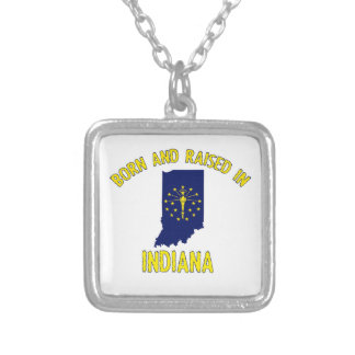 Indiana state flag and map designs square pendant necklace