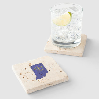 Indiana State Flag and Map Stone Beverage Coaster