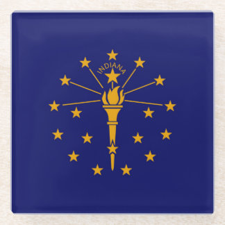 Indiana State Flag Design Decor Glass Coaster