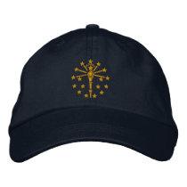 Indiana State Flag Design Embroidered Baseball Cap