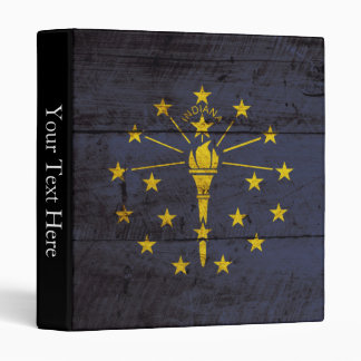 Indiana State Flag on Old Wood Grain Binder