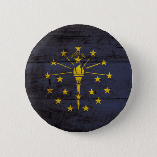 Indiana State Flag on Old Wood Grain Button