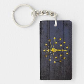 Indiana State Flag on Old Wood Grain Double-Sided Rectangular Acrylic Keychain