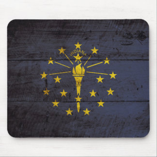 Indiana State Flag on Old Wood Grain Mouse Pad