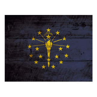 Indiana State Flag on Old Wood Grain Postcard
