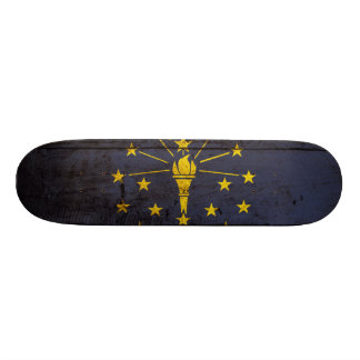 Indiana State Flag on Old Wood Grain Skateboard Deck