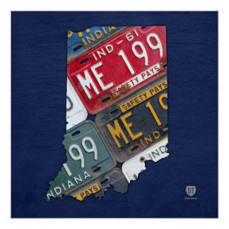 Indiana State License Plate Map Print