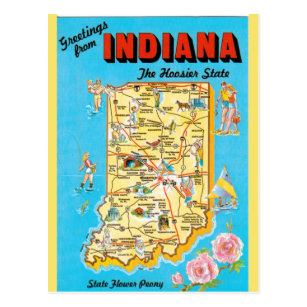 Map Of Indiana Postcards | Zazzle Indiana State Map Postcard on washington state map postcard, indiana state park campground maps, ohio state map postcard, indiana united states map,