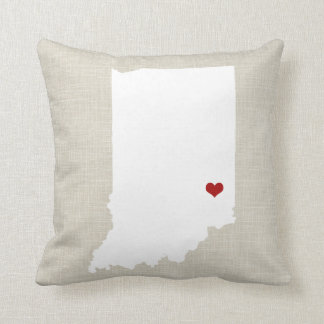 Indiana State Pillow Faux Linen Personalized
