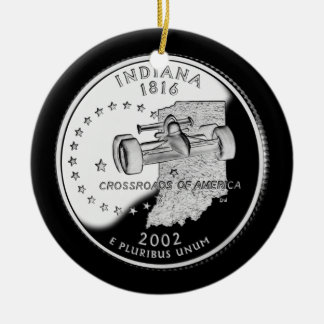 Indiana State Quarter Ceramic Ornament