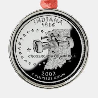 Indiana State Quarter Metal Ornament