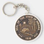 Indiana State Seal Basic Round Button Keychain
