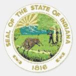 Indiana State Seal Classic Round Sticker