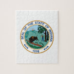 """Indiana State Seal Jigsaw Puzzle<br><div class=""""desc"""">Show pride for your state and display this seal for Indiana on your next design.</div>"""