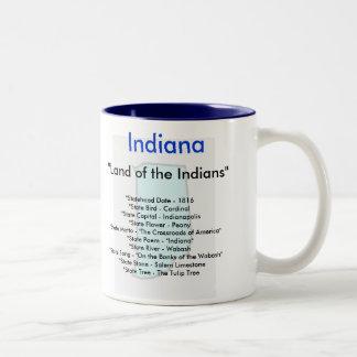 Indiana Symbols & Map Two-Tone Coffee Mug