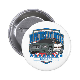 Indiana To Protect and Serve Police Squad Car Pinback Buttons