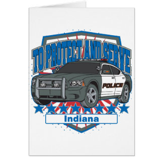 Indiana To Protect and Serve Police Squad Car Card