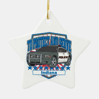 Indiana To Protect and Serve Police Squad Car Ceramic Ornament