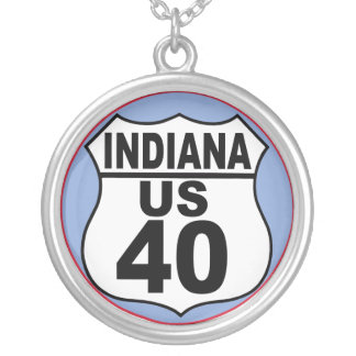 Indiana US Route 30 - The Lincoln Highway Silver Plated Necklace