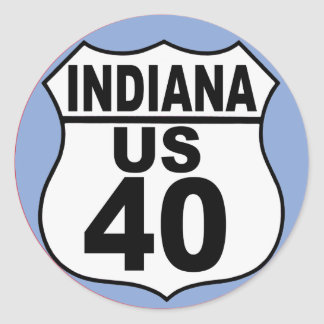 Indiana US Route 40 - The National Road Classic Round Sticker