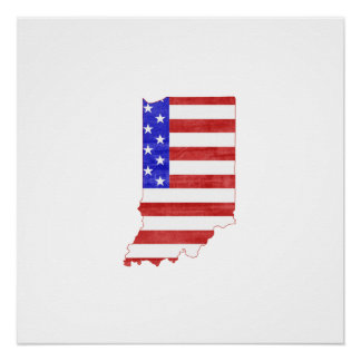 Indiana USA silhouette state map Poster